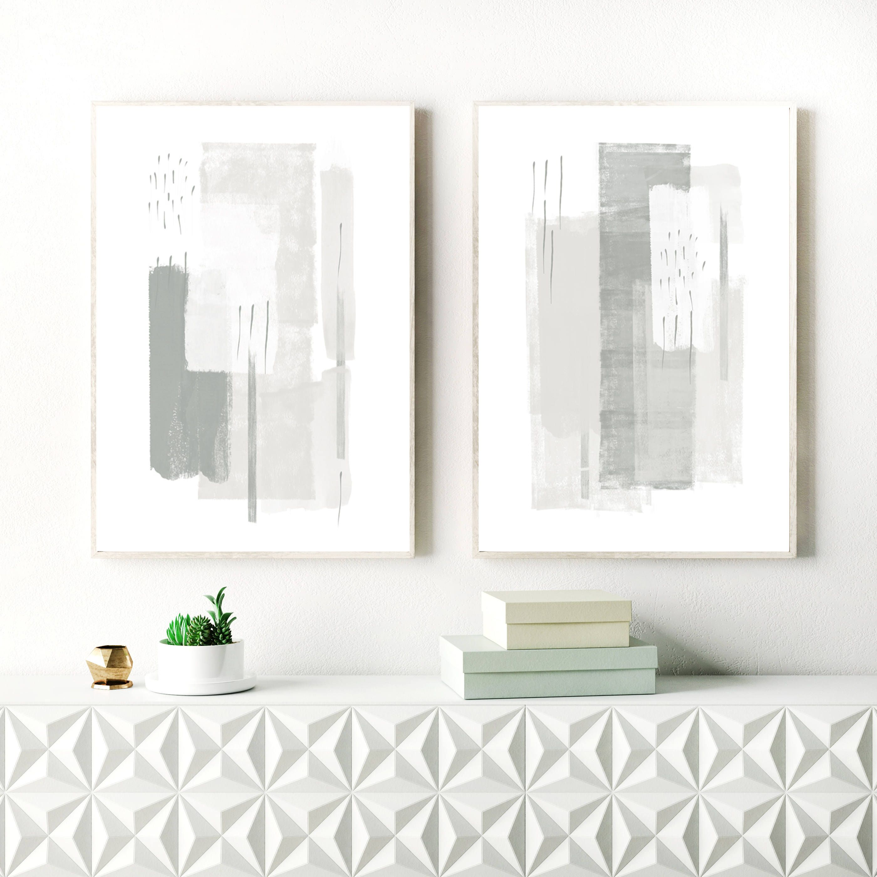 Beach decor wall art modern abstract art print minimalist - Grey Abstract Art Grey And White Minimalist Paintings Set Of Two Instant Download Prints Printable Minimal Art Minimalist Modern Art