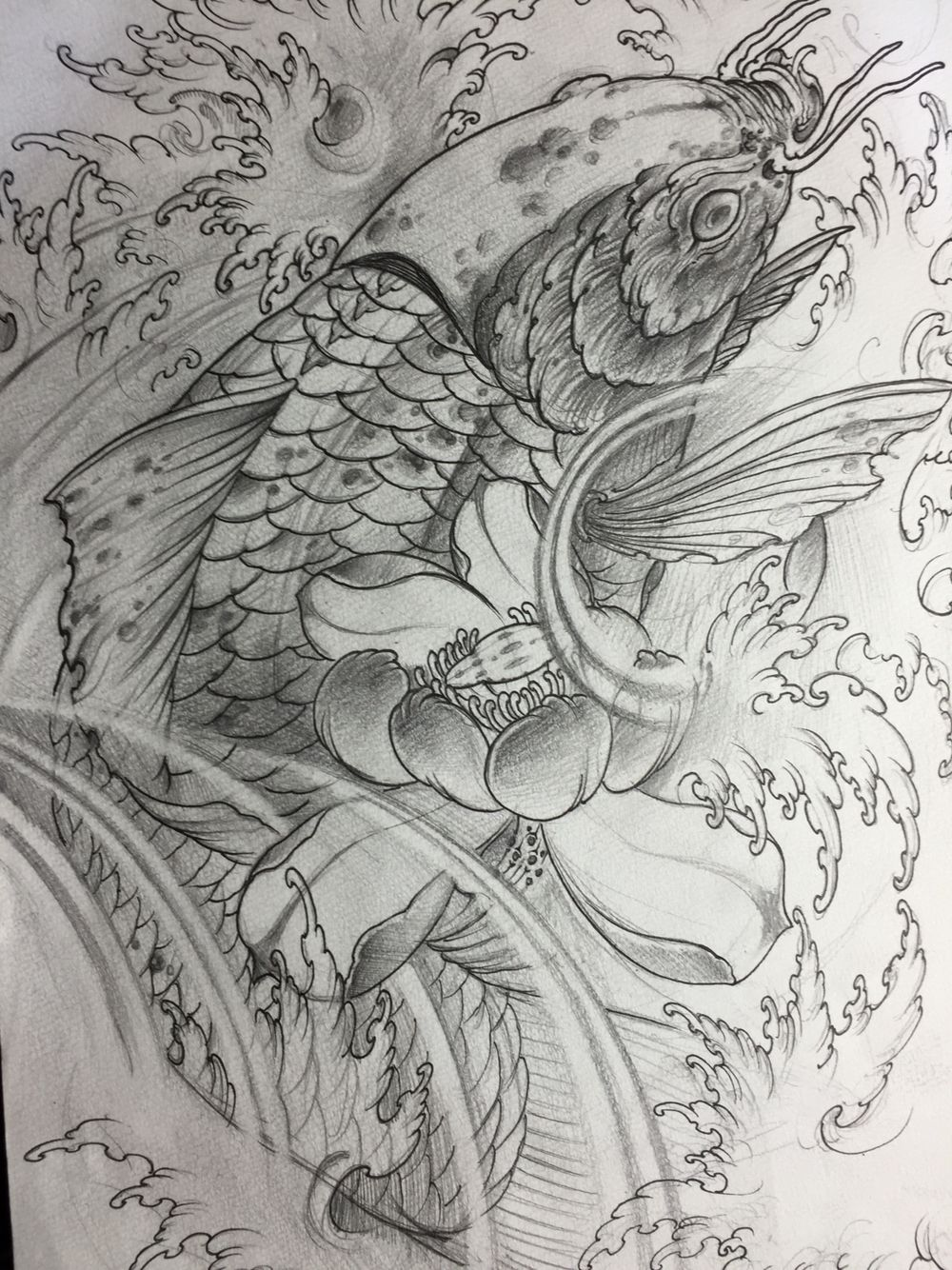 Koi sketch drawing koi and fish tattoo poisson koi - Croquis poisson ...