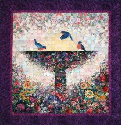 Bird Bath Quilt Watercolor Quilt Flower Quilts