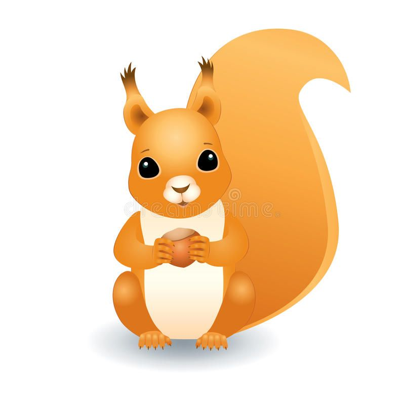 Squirrel With Hazelnut Vector Three Dimensional Illustration Of A Cute Red Squi Ad Dimensional Illustration Squirrel Illustration Squirrel Art Squirrel