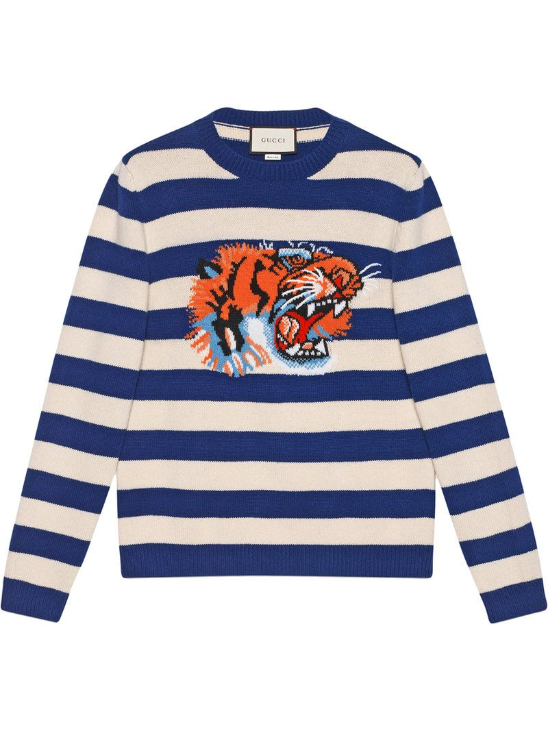 3e1786ca4 GUCCI Blue & Beige Striped 'Loved' Tiger Sweater in Blue/Wht ...