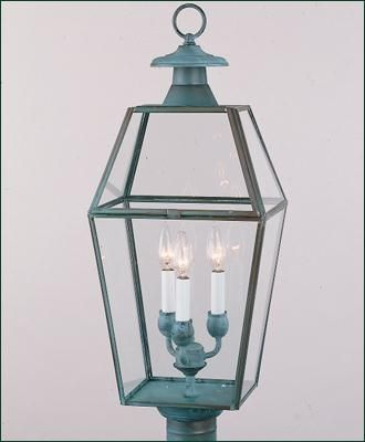 Old colony post mount lantern brass fixture with beveled glass in two finishes