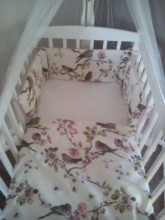 Vintage Style Garden Bird Budgie Crib Cradle Bedding Cream