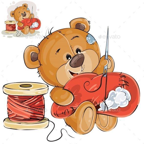 Vector Illustration Of A Brown Teddy Bear Tailor Brown Teddy Bear Teddy Bear Bear Art
