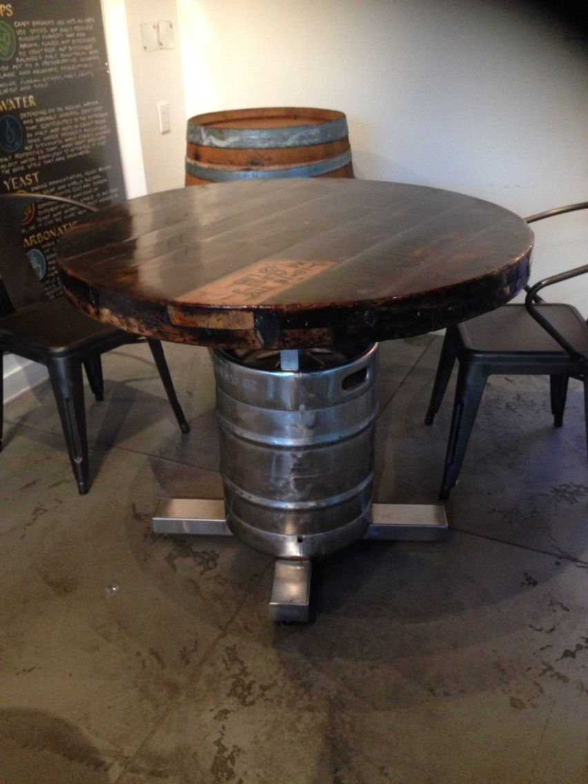 Wood table with keg stand My future bar Pinterest Wood table