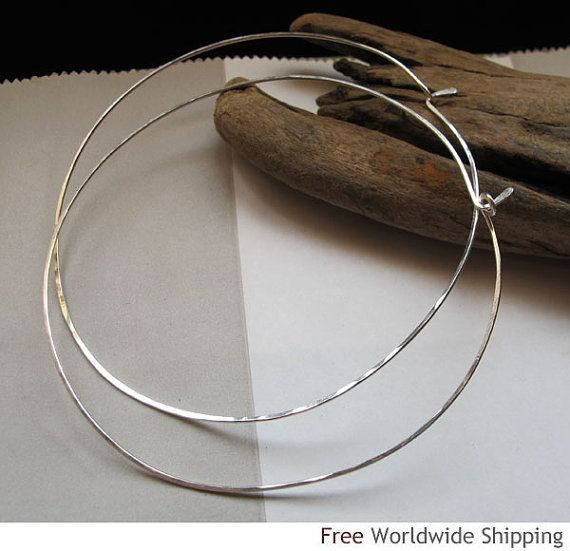 Silver Hoop Earrings 3 Inch Extra Large Thin By Nadinartdesign