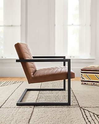 Ryker Chair In Annata Leather Modern Accent Lounge Chairs