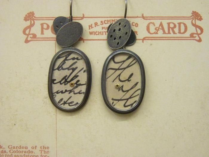 Clare Hillerby - Oval Earrings with Postcards - silver, paper, perspex, gold - 120 £
