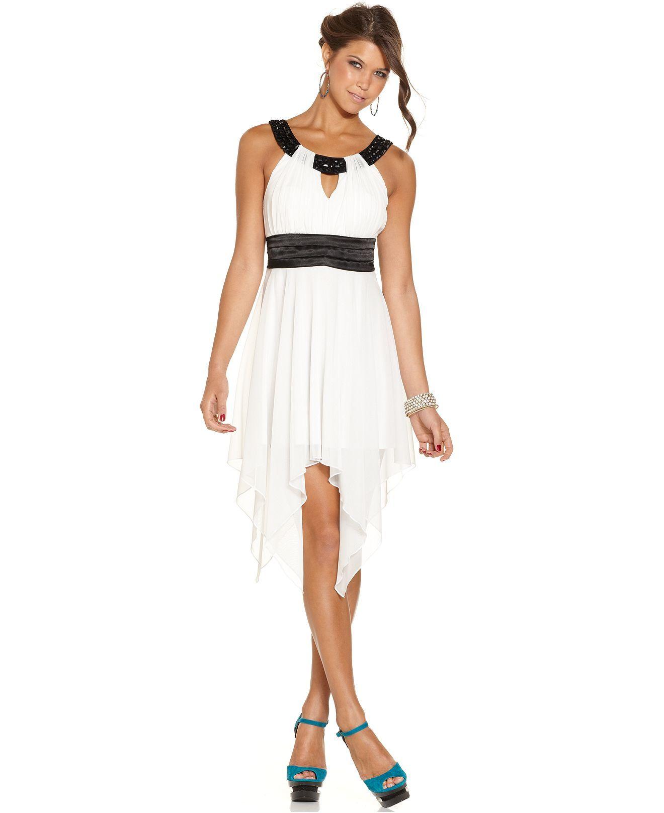 Trixxi Juniors Dress, Sleeveless Studded Handkerchief-Hem - Juniors Dresses - Macy's