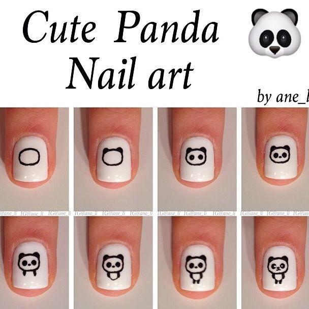 Cute Panda Nail Art Tutorial Ideas Para El Hogar Pinterest