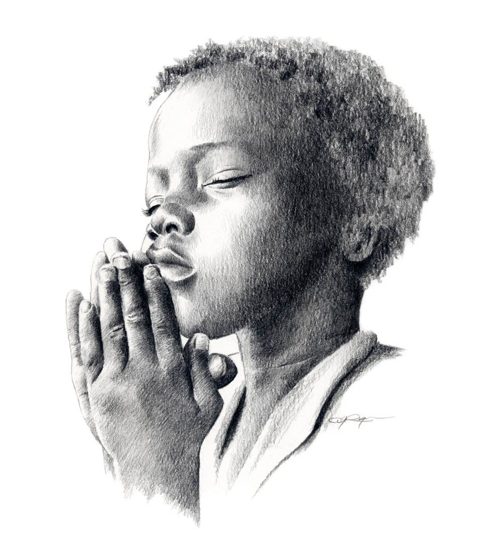 Praying child pencil drawing art print signed by artist dj rogers