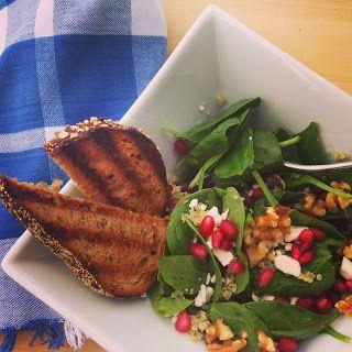 Spinach Salad with Quinoa and Pomegranates - Follow @ thepreppyhostess.blogspot.com