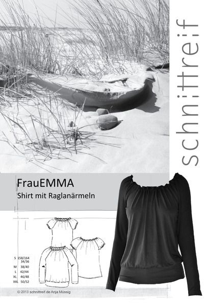 Schnittmuster, Raglanshirt + Raglanbluse FrauEMMA   Schnittreif ...