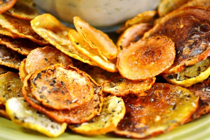 Squash chips:  slice thin, salt, bake @ 200 for 2-3 hours.