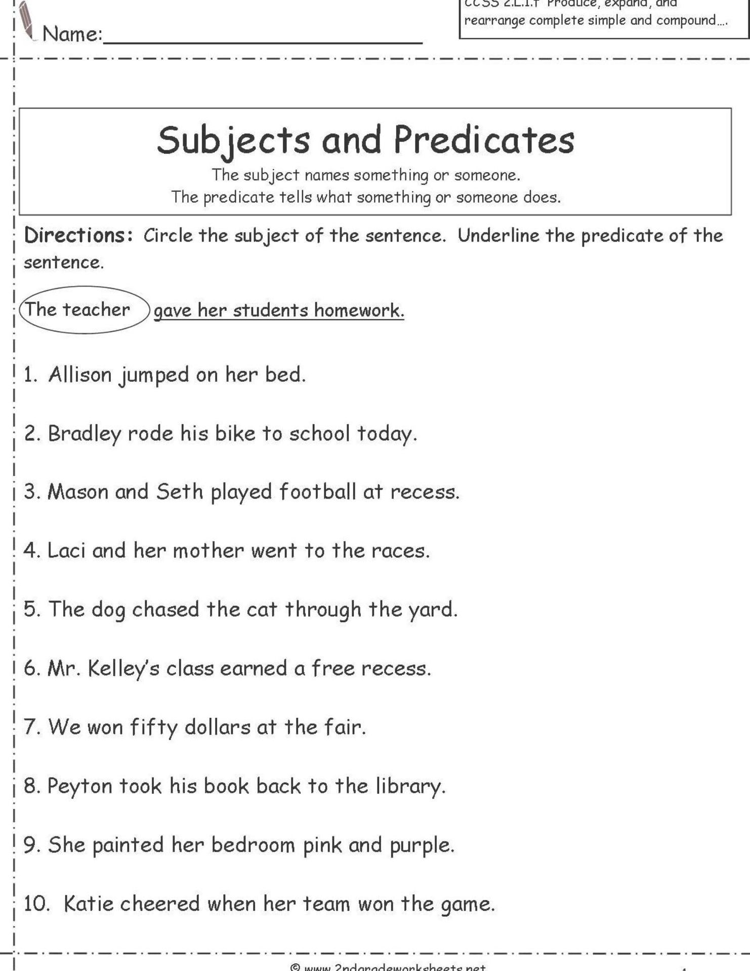small resolution of Subject And Predicate Worksheets For Second Grade   Subject and predicate  worksheets