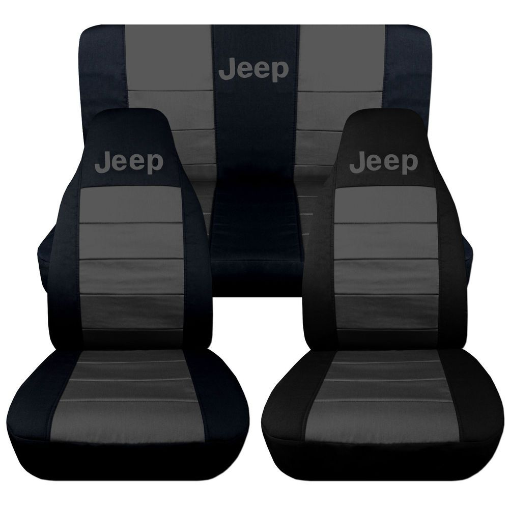 Jeep Wrangler TJ Front Back Car Seat Covers Solid Black Charcoal W