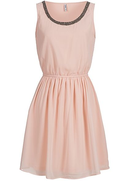 ONLY Damen Mini Kleid 2-lagig Taille Gummizug Perlen peach whip rosa ...