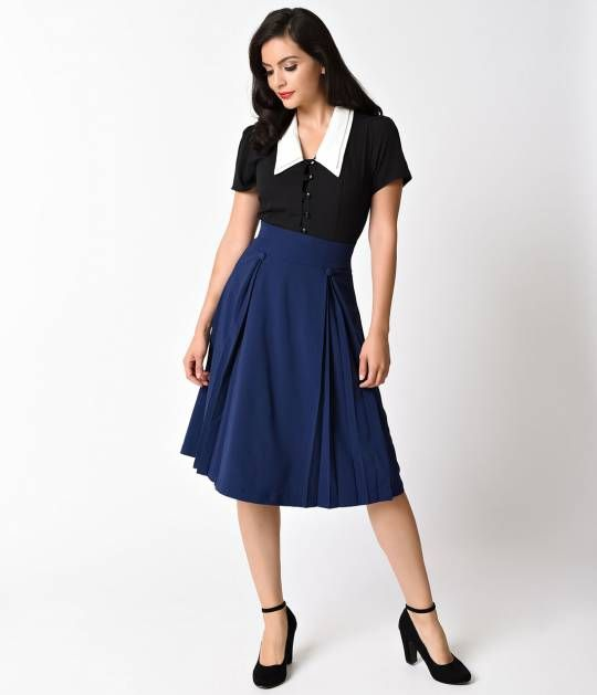 f7196a756c9f Hell Bunny 1940s Style Navy Blue Kennedy High Waist Swing Skirt ...