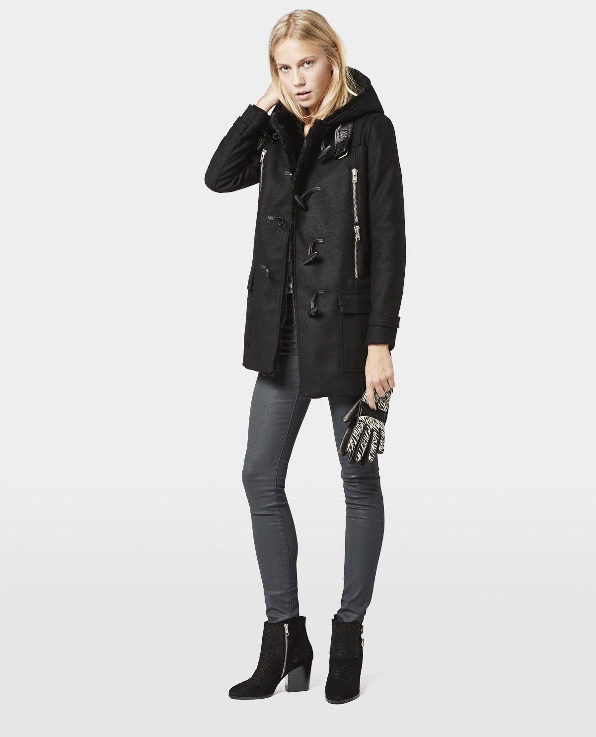 Duffle coat en drap de laine à détails en cuir et fourrure - Soldes Femme -  The Kooples 67c021cf0061