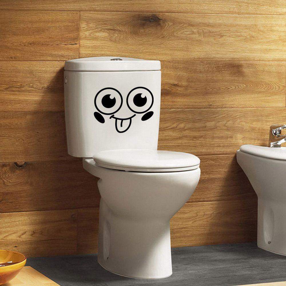 Removable wall decals for bathroom - Smiling Face Toilet Bathroom Decal Seat Decor Removable Diy Wall Stickers Home Decor