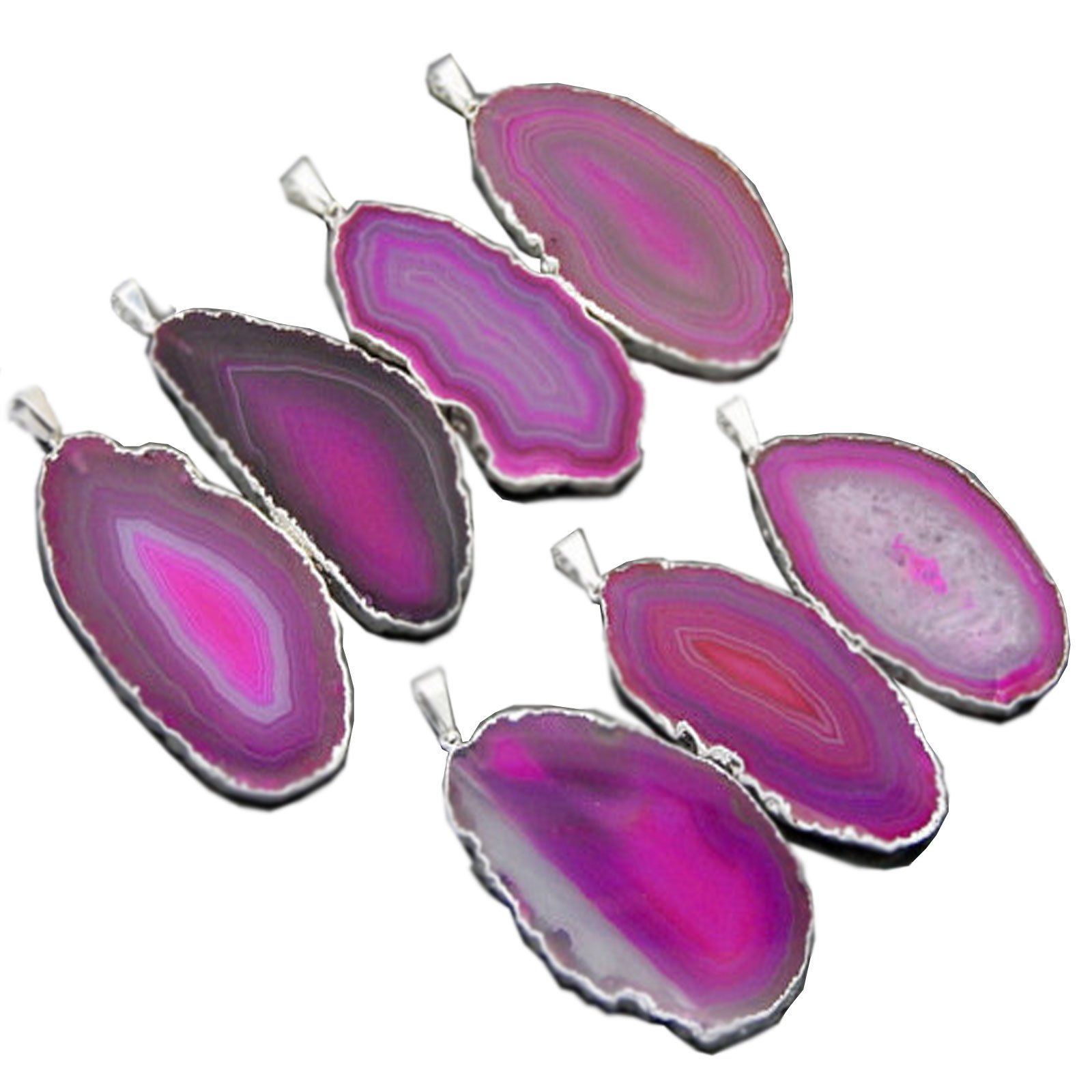 1 Pink Agate Druzy Pendant Plated in Silver RP Exclusive COA AM8B8-02