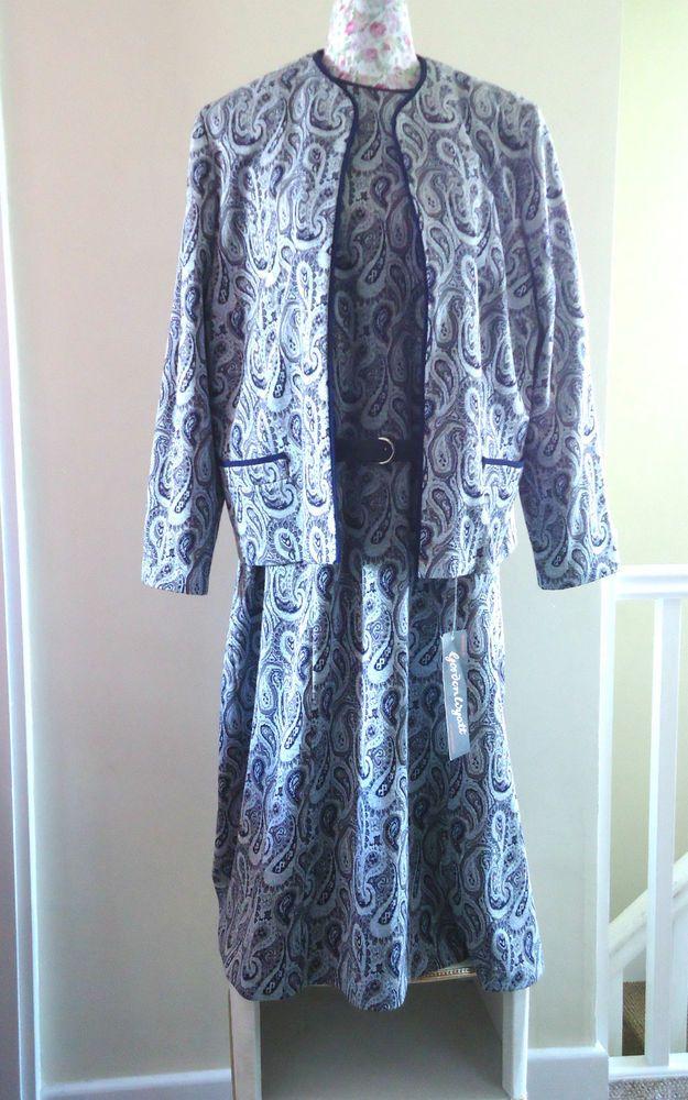 VINTAGE RETRO GORDON WYATT BLUE PAISLEY PATTERN DRESS JACKET SUIT NEW PLUS SIZE
