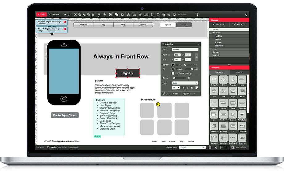 hotgloo wireframe ux prototyping tool - Website Prototyping Tool