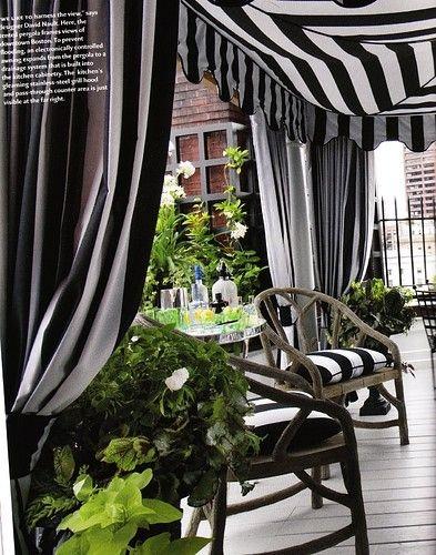 Outdoor Decor {Black & White Stripes}