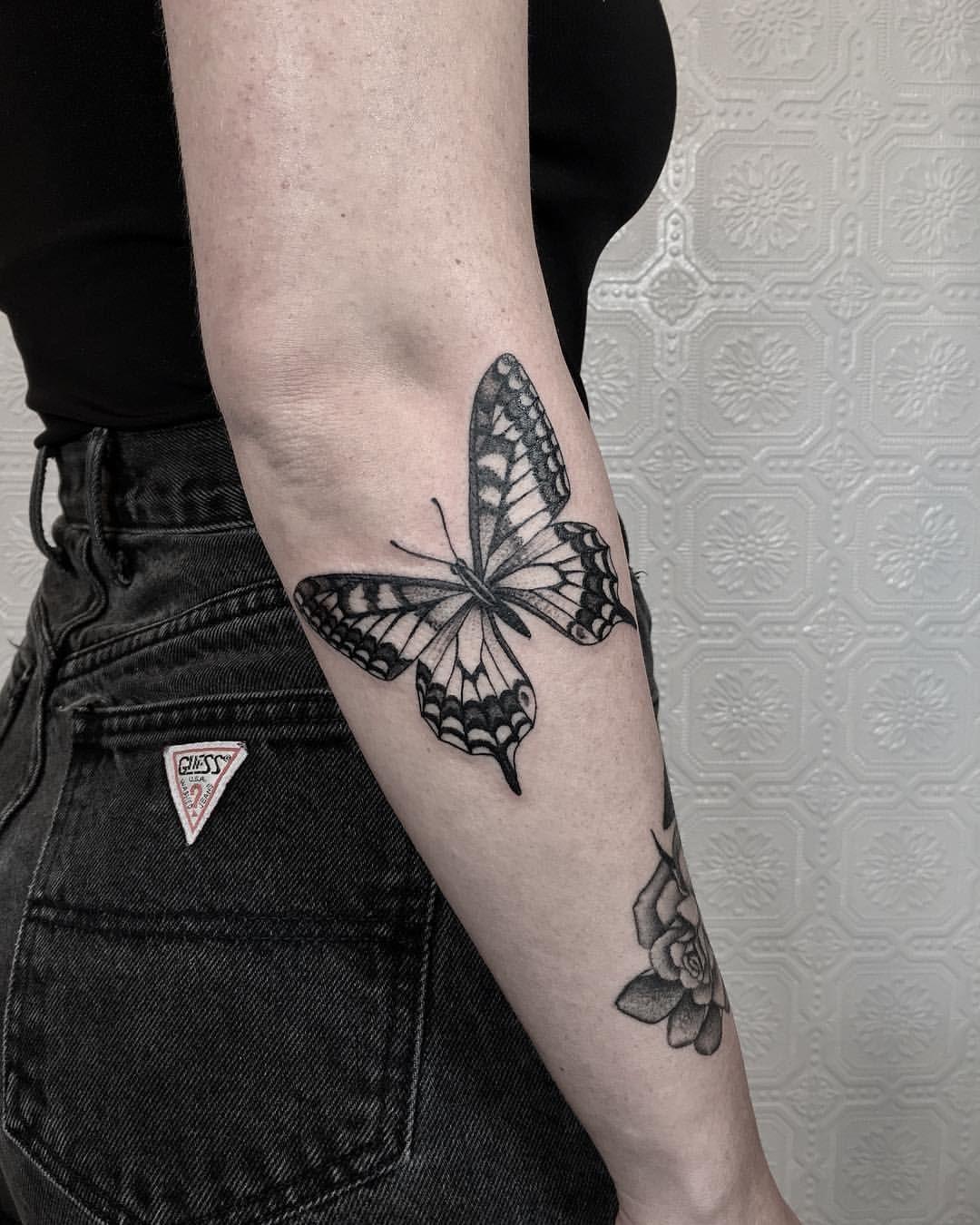 Butterfly for Bethany. blacktattooart blacktattoo