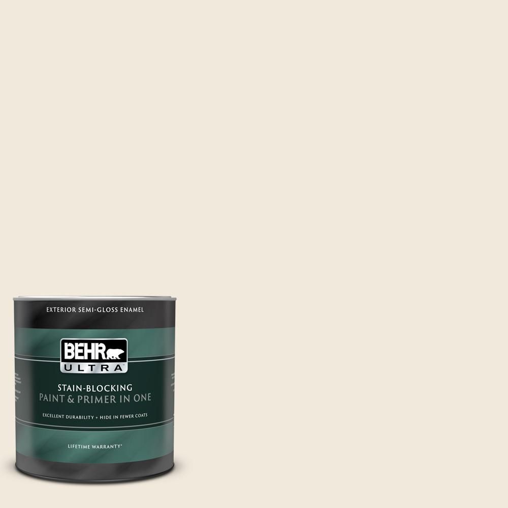 Behr Ultra 1 Qt Ecc 42 2 Cotton Ridge Semi Gloss Enamel Exterior Paint And Primer In One 585004 Exterior Paint Behr Exterior