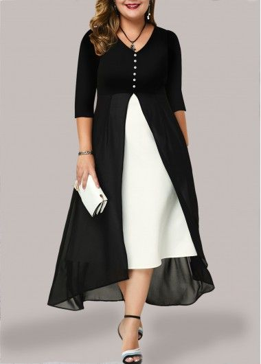 Photo of Women'S Black And White Chiffon V Neck Casual Dress Plus Size Color Block Three Quarter Sleeve Maxi Cocktail Party Dress By Rosewe V Neck Chiffon