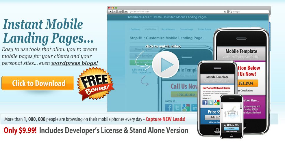 Create Mobile Landing Pages In Seconds http