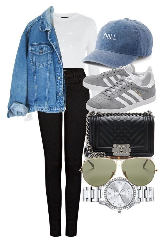 """""""Untitled #4536"""" by olivia-mr ❤ liked on Polyvore featuring Topshop, J Brand, SO, adidas Originals, Chanel, Mestige and Ray-Ban"""