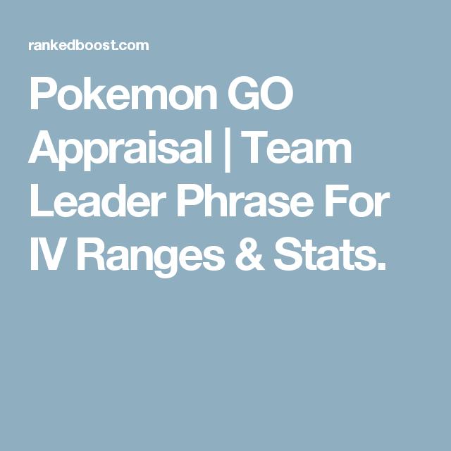 Pokemon GO Appraisal Pokemon go appraisal, Pokemon go