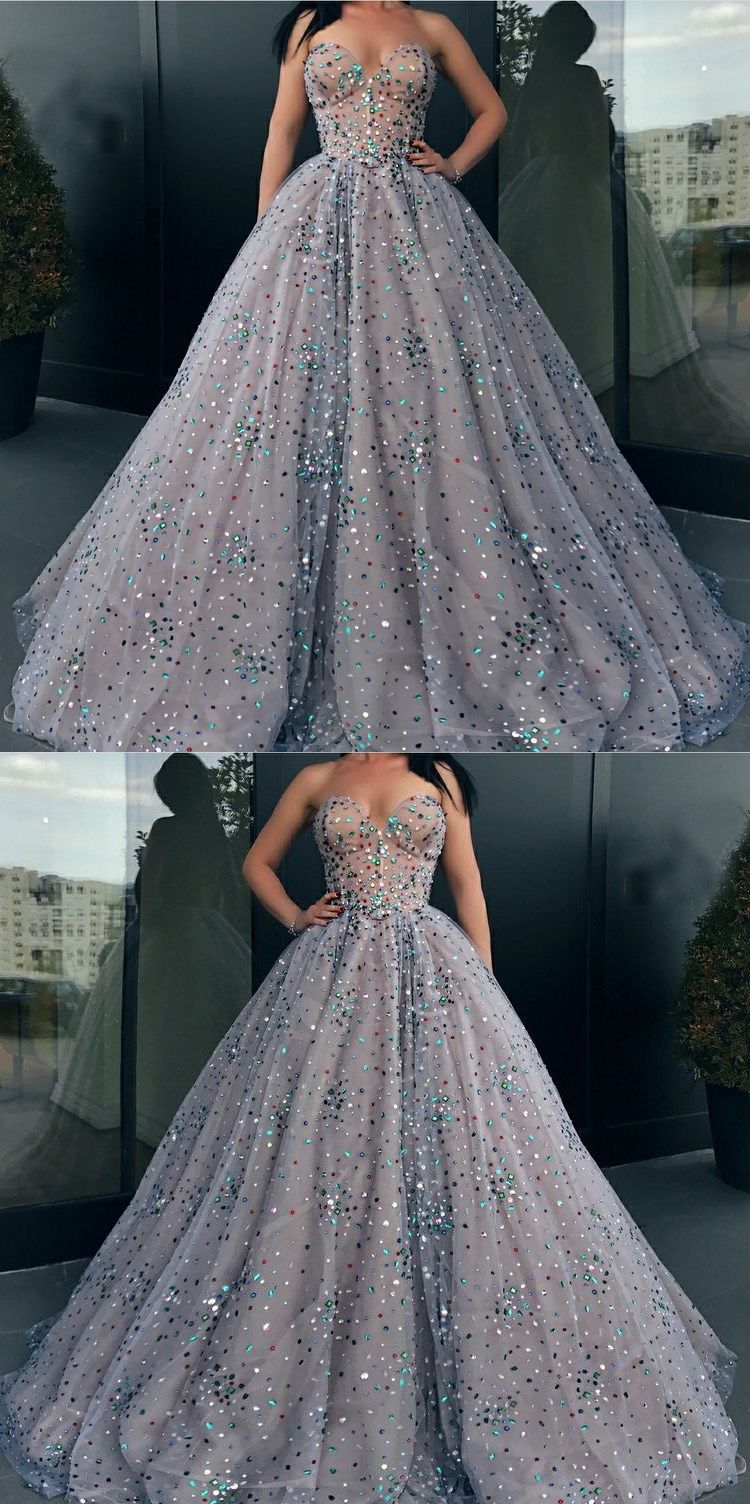 Ball Gown Prom Dresses Sweetheart Rhinestone Long Sparkly Prom