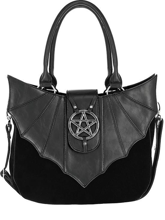 Wingsamp; In Bat Pentagram Creature Gothic Night Velvet Black Handbag CxoBde