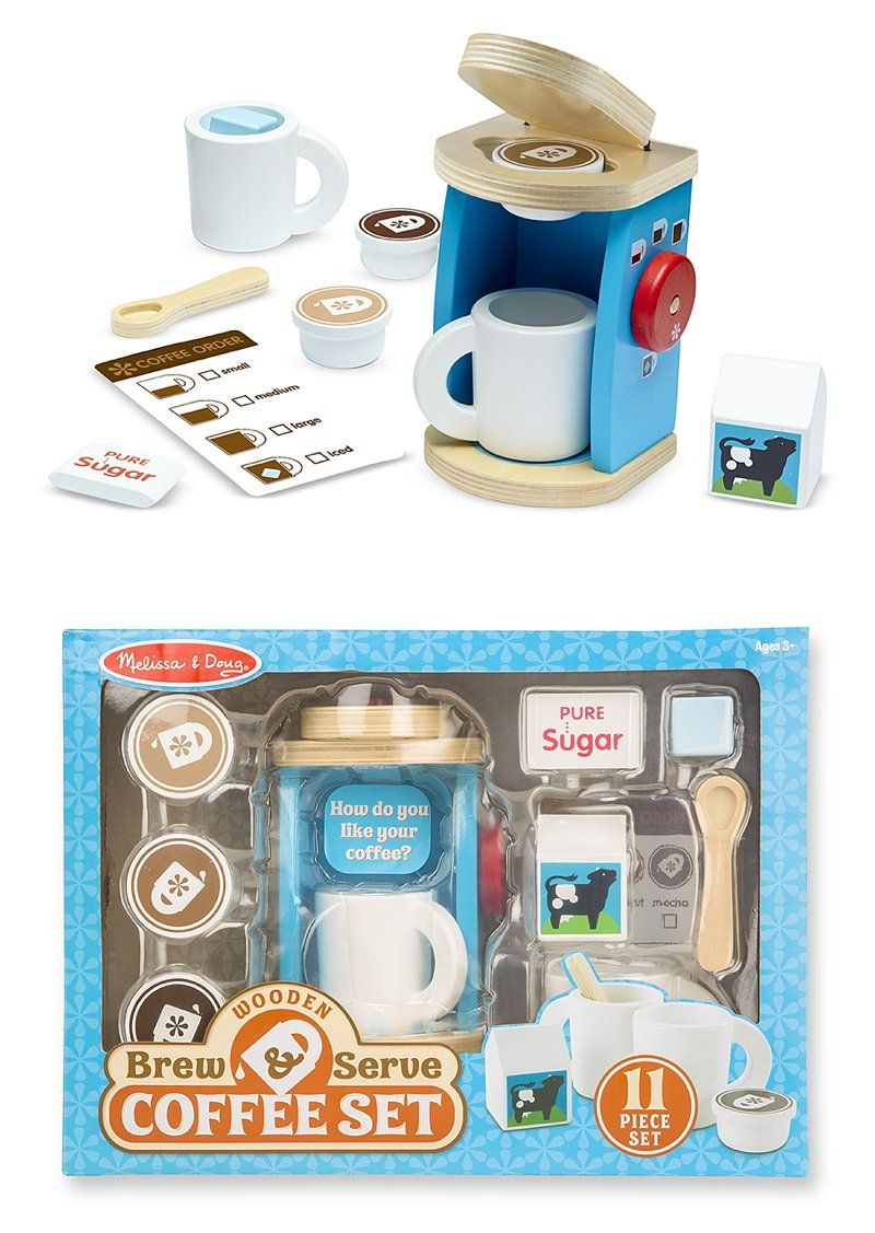 Wooden Brew & Serve Coffee Set: Pretend-play tea parties can now ...