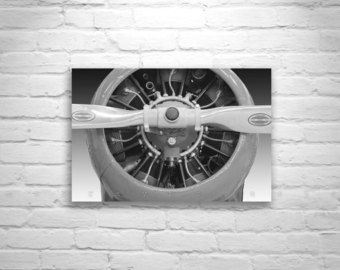 Airplane Decor, Aviation Decor, Airplane Propeller Picture, Aircraft Art, Black and White, Airplane Print, Monochrome, Aviation Wall Art