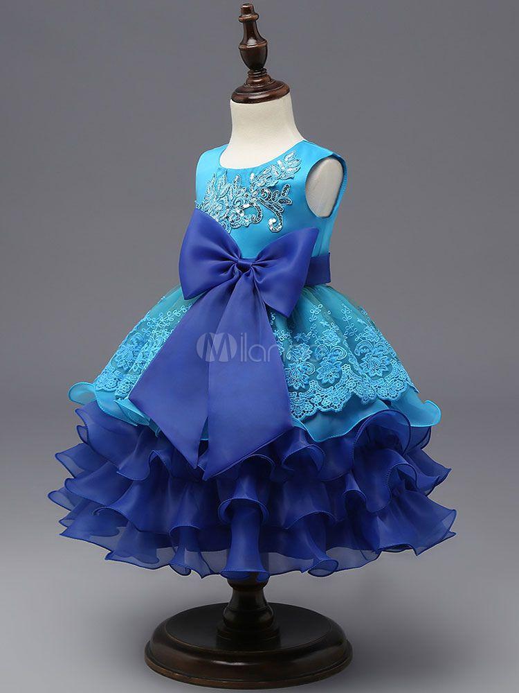 e8ed34dac Flower Girl Dresses Princess Blue Lace Sequin Ruffles Tiered Ribbon ...