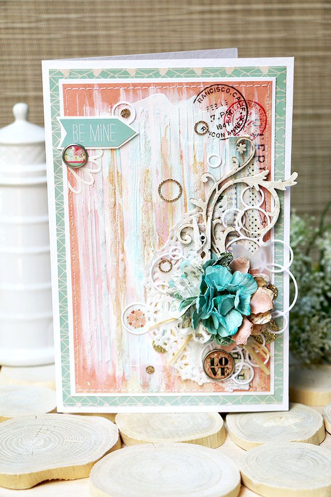 "Card ""Wedding mix"" - Scrapbook.com - Beautiful use of the Tim Holtz layering stencil on this gorgeous card."