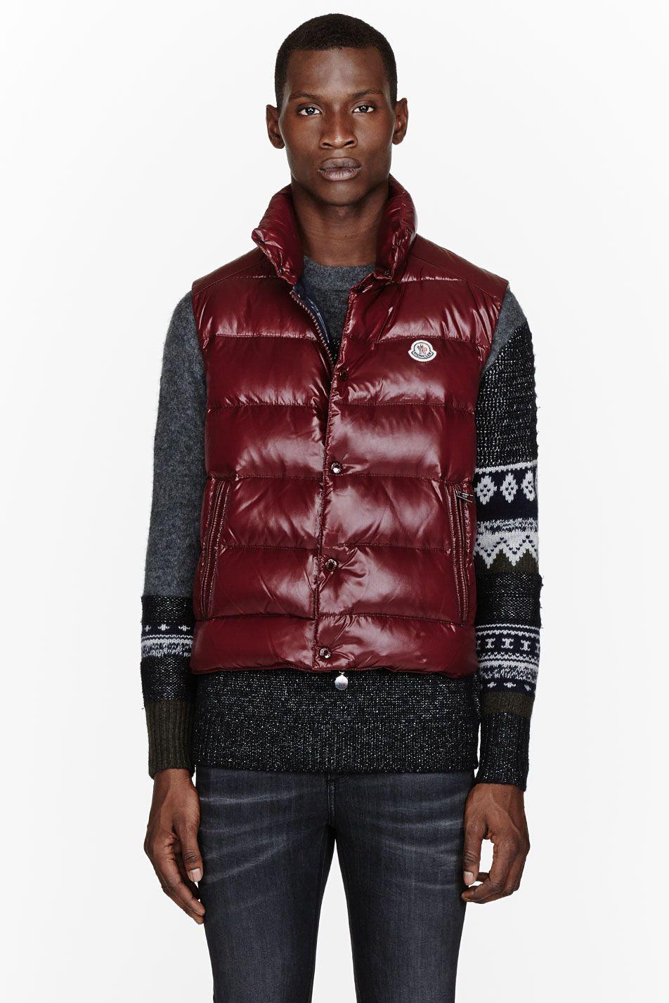 2f51b6bf77ce4f Moncler Burgundy Down Tib Puffer Vest | Men's fashion | Vest ...