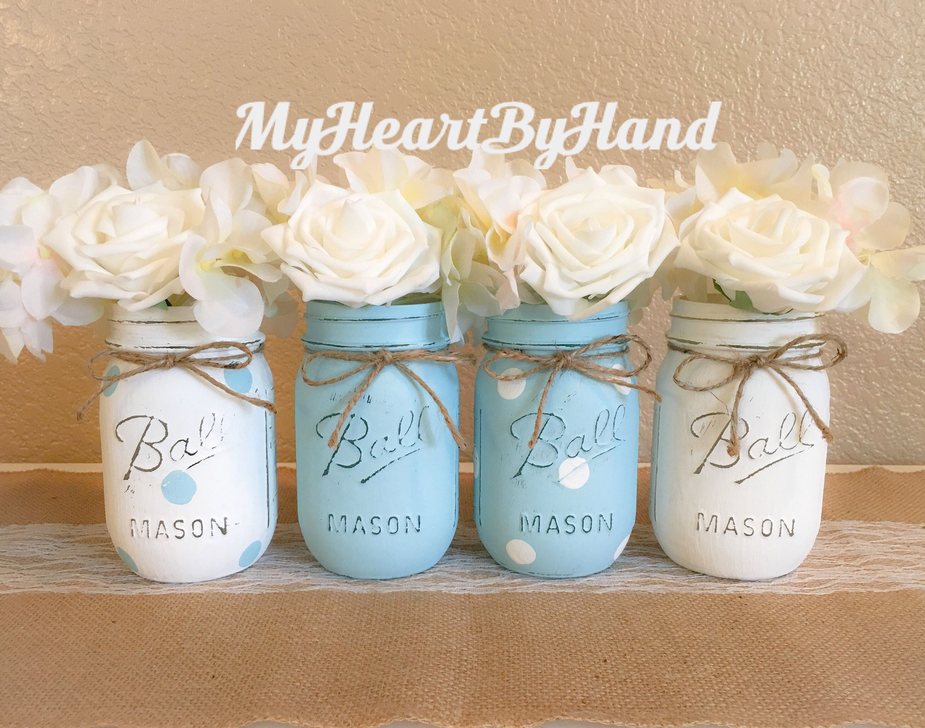 Blue Boy Baby Shower Centerpieces Blue Polka Dots Painted Mason