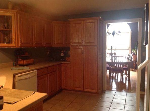 diy kitchen copper backsplash, decoupage, kitchen backsplash, kitchen design, repurposing upcycling, My old outdated kitchen