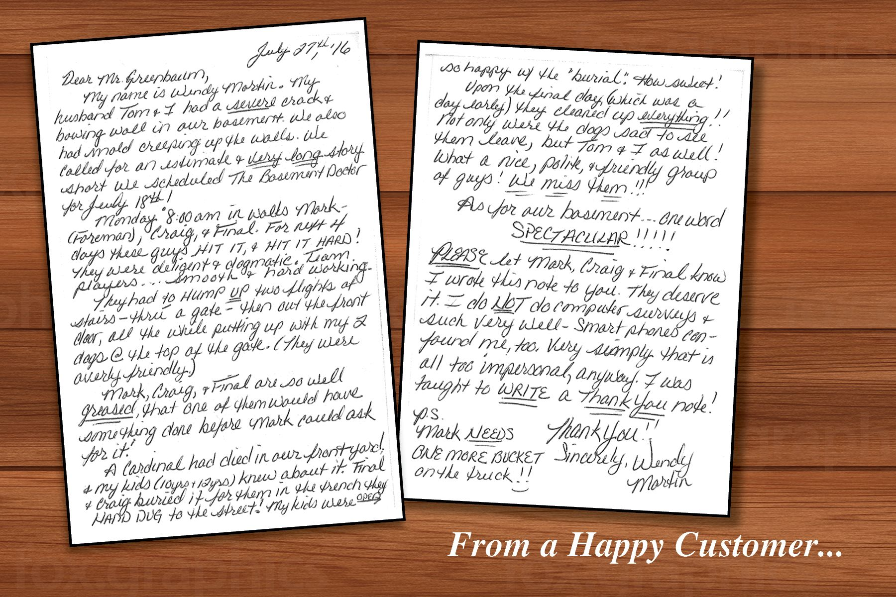 The office staff, Project Managers and our Installation Technicians are lifted up by amazing letters of appreciation like this from our customers. So much time and effort goes in to every project we hep with and this type of response from our customers is heart warming. Thank you Mr and Mrs Martin for the opportunity to help you and for taking the time to write this kind letter.