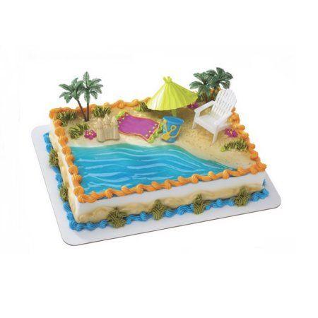Special Order Cake Decoration Decoset Beach Chair Umbrella Walmart Com In 2020 Beach Themed Cakes Pool Cake Beach Cakes