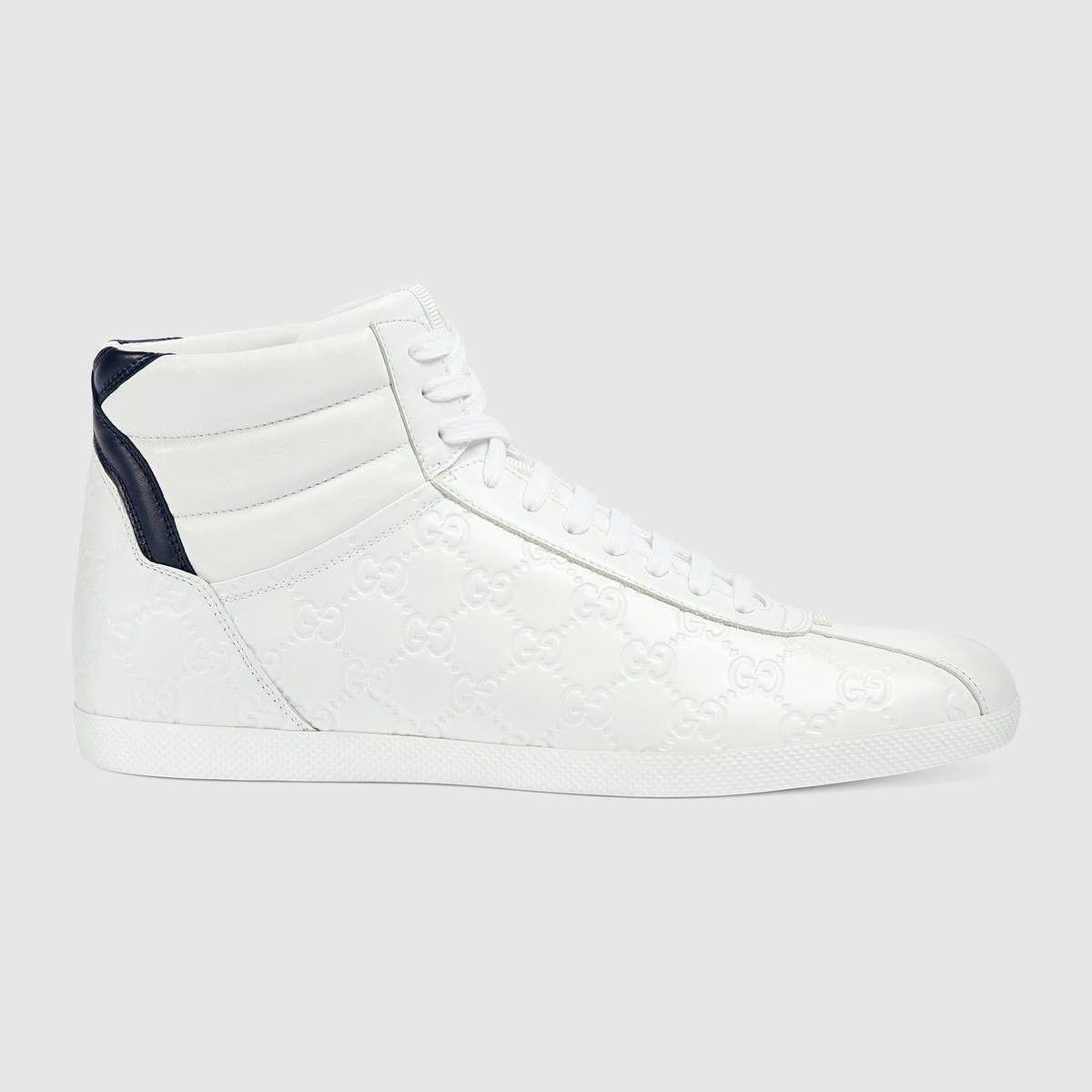 GUCCI Gucci Signature High-Top Sneaker - White Gucci Signature.  gucci   shoes  all 4b664f5075f1