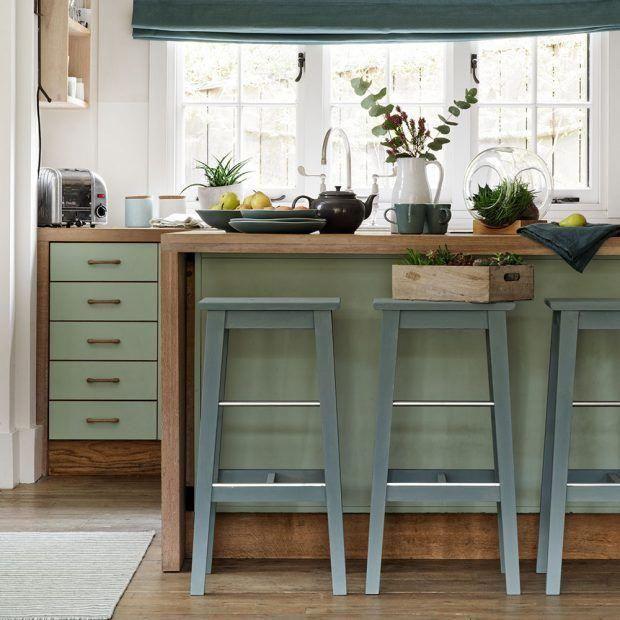 51 Green Kitchen Designs: Oak-and-green-kitchen-with-succulents #bestkitcheninterior