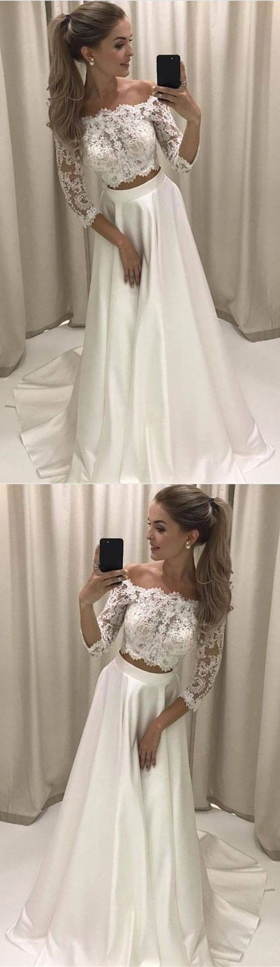 Two piece offtheshoulder sleeves white prom dress with lace
