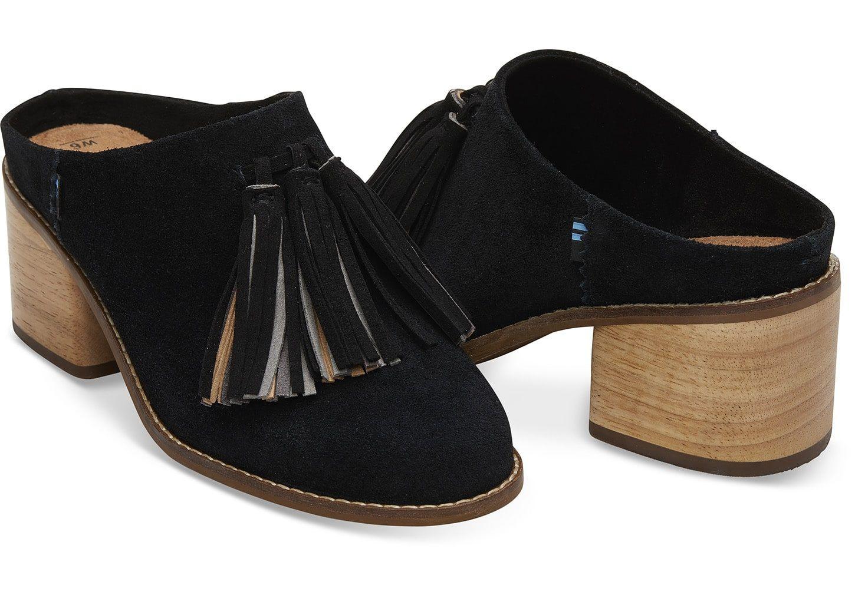 ca9d138931e Black Suede Tassel Women's Leila Mules   style points   Womens shoes ...