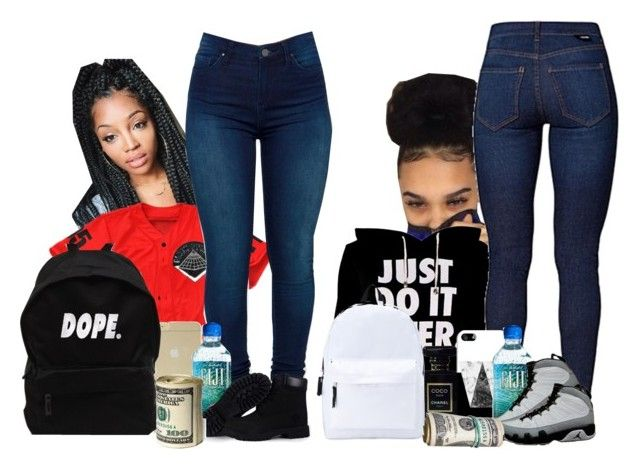 """me and my homie."" by brooklyn-taylor-ford ❤ liked on Polyvore featuring Chanel, Dr. Denim, Casetify, Forever 21, Retrò, BLANKNYC and Sonix"